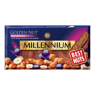 Шоколад Голд молочный с цельным лесным орехом и изюмом 100 гр.
